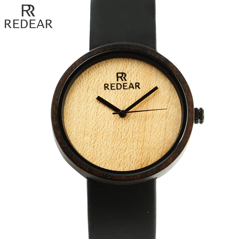 Redear Top Brand Luxury Wood Men Watch Case Leather Strap Fashion Wooden Quartz Watches Simple Mens Wristwatch Relogio Masculino bobo bird brand new sun glasses men square wood oversized zebra wood sunglasses women with wooden box oculos 2017