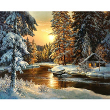 Diy Diamond Painting Cross Stitch Snowy Forest Cabin & Boat Needlework Diamond Embroidery Full Round Mosaic Decoration Resin Kit все цены
