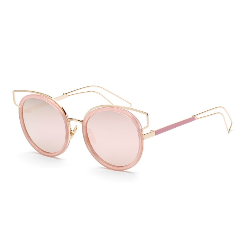 Mirror Flat Lense Women Cat Eye Sunglasses Classic Brand Designer Twin-Beams Rose Gold Frame Sun Glasses Hot