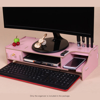 Keyboard Mouse Storage Wooden Monitor Stand Riser Computer Desk Organizer with Slots for Office Supplies School Teachers