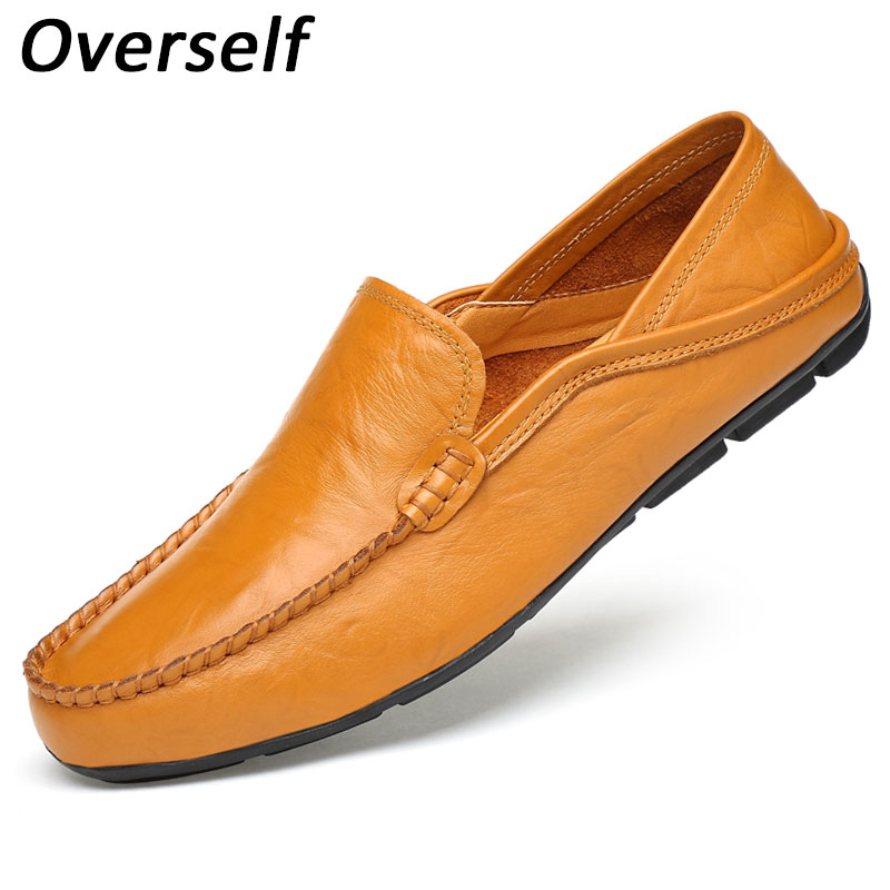 Men's Genuine Leather Driving Shoes New Moccasins Slip On Handmade Casual Shoes Brand Design Big Size Flats Loafers For Men dekabr new 2018 men cow suede loafers spring autumn genuine leather driving moccasins slip on men casual shoes big size 38 46