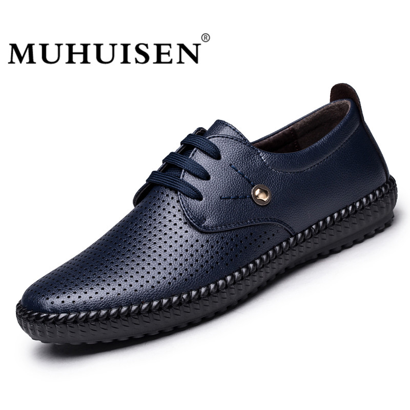 MUHUISEN Summer Men Casual Shoes Hollow Out Breathable Soft Leather Lace-Up Driving Shoes Comfortable Male Flats klywoo new white fasion shoes men casual shoes spring men driving shoes leather breathable comfortable lace up zapatos hombre