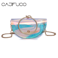 CAJIFUCO 여성 젤리 투명 핸드백 무지개 빛깔의
