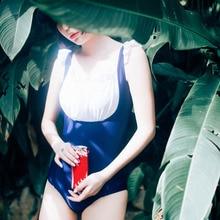 Maid feeling & Wood ears design one-piece swimsuit / Back crossover swimear Summer SUKUMIZU
