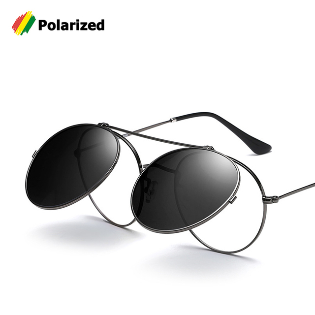 4b169c0a20f54 JackJad Vintage Style Round Metal SteamPunk Flip Up Sunglasses POLARIZED  Clamshell Design Retro Sun Glasses Oculos
