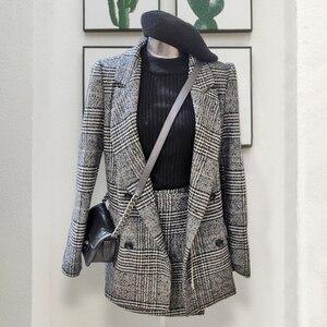 Image 2 - CBAFU di autunno della molla giacca a maniche lunghe cappotto delle donne outwears plaid tweed gonne delle donne del vestito 2 pezzi imposta donne vestiti N630