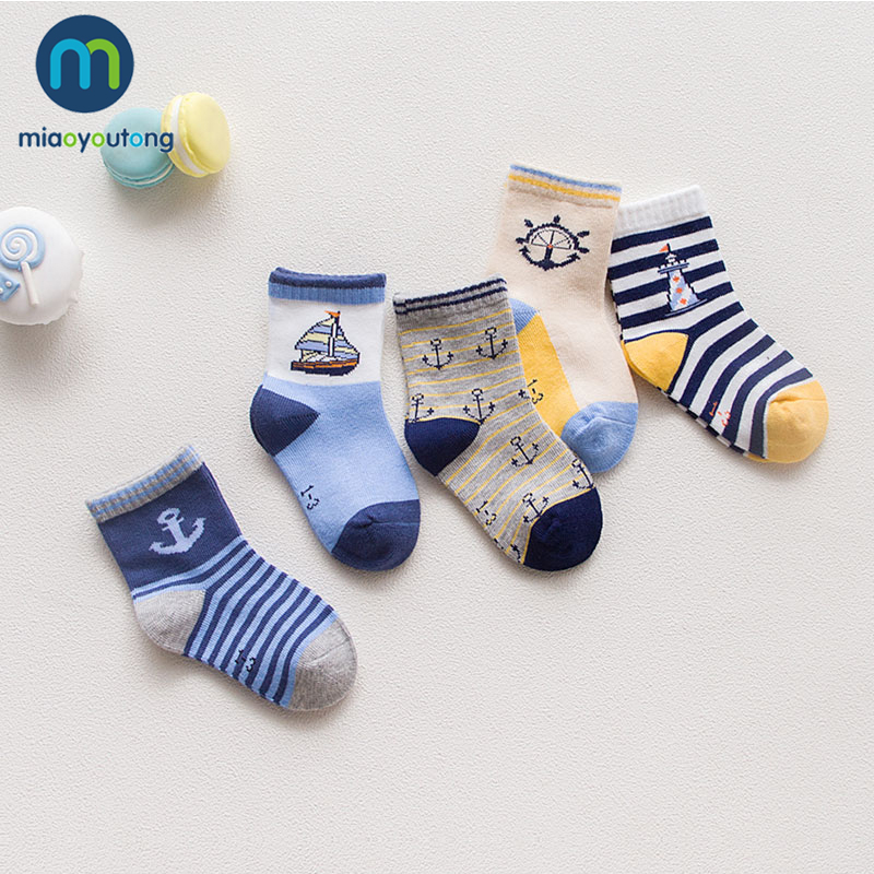10 Pieces/lot 5 Pair Lovely Baby Socks Girl Dinosaur Ship PlaneSkarpetki Boy Knit Cotton Soft Newborn Sock Kids Miaoyoutong