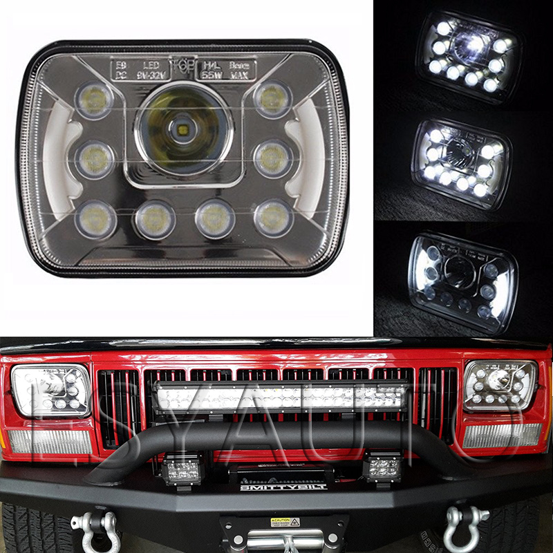 1 Pair 55W 7x6 Dual Beam Headlights Crystal Clear Sealed Beam Halo LED DRL H6014 H6052 H6054 Insert for Nissan for Caravan Truck