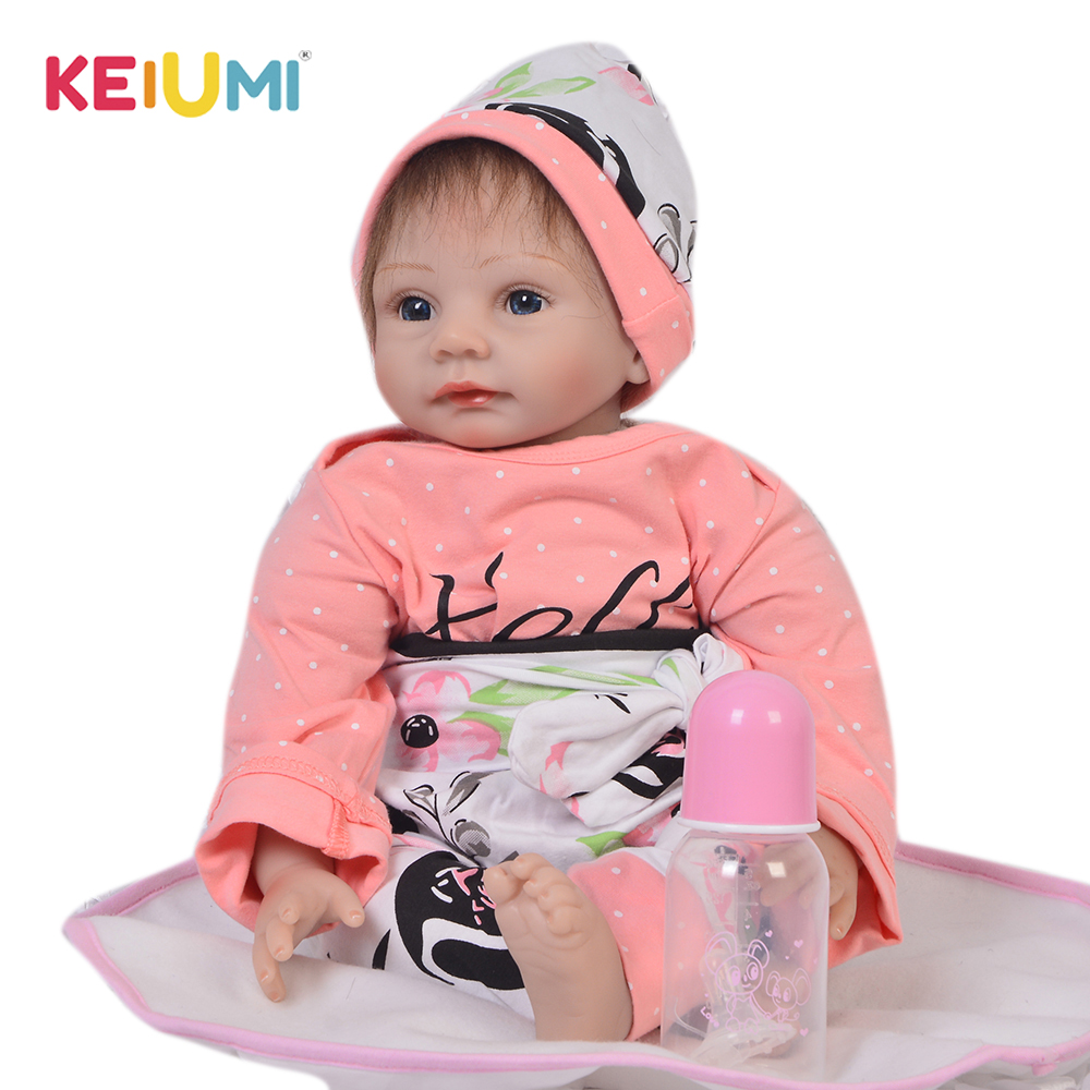 цена на KEIUMI Realistic 22 Inch Reborn Baby Girl Doll Soft Silicone 55 cm Fashion Doll Baby Toy For Children's Day Xmas Birthday Gifts