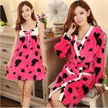 Robe Sexy Thick Warm Sleepwear Women Long Polyester Lingerie Winter Nightgowns 2 piece Robe Nightgown Sets Sweet Bathrobe