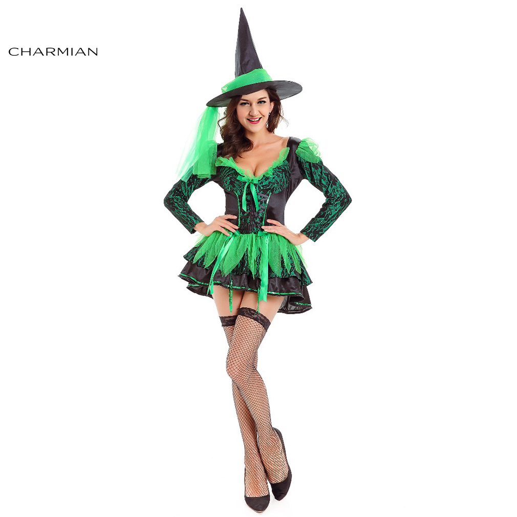 charmian sexy women witch costume adult magic moment green witch cosplay costumes fancy dress victorian halloween costumes - Green Halloween Dress