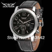 Classic Business Black Dial 24 hours Function Leather  Relogio Masculino Automatic men dress wrist watch Jargar  /JAG6165M3S1