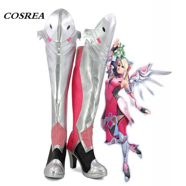 COSREA Oyun DÜŞÜK Merhamet Angela Ziegler Cosplay Kostüm Pembe Sahne Uzun Çizmeler Ayakkabı Cadılar Bayramı Karnaval Parti Yetişkin Kadınlar Için