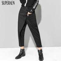 SuperAen Autumn New Women's Pants Europe Cotton Wild Fashion Casual Ladies Pants Ankle length Pants 2018 Harem Pants Female