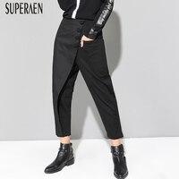 SuperAen Autumn New Women's Pants Europe Cotton Wild Fashion Casual Ladies Pants Ankle length Pants 2018 Harem Pants Female