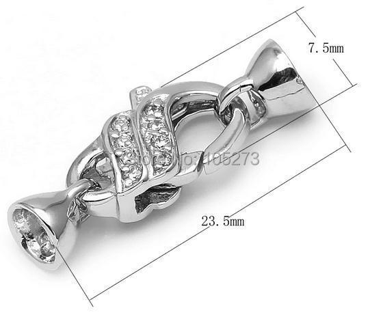 Avec feuille de zirconium forme de perles enveloppe fermoir en argent, bricolage collier en cristal de perle naturelle de haute qualité, fermoir bracelet.-L50