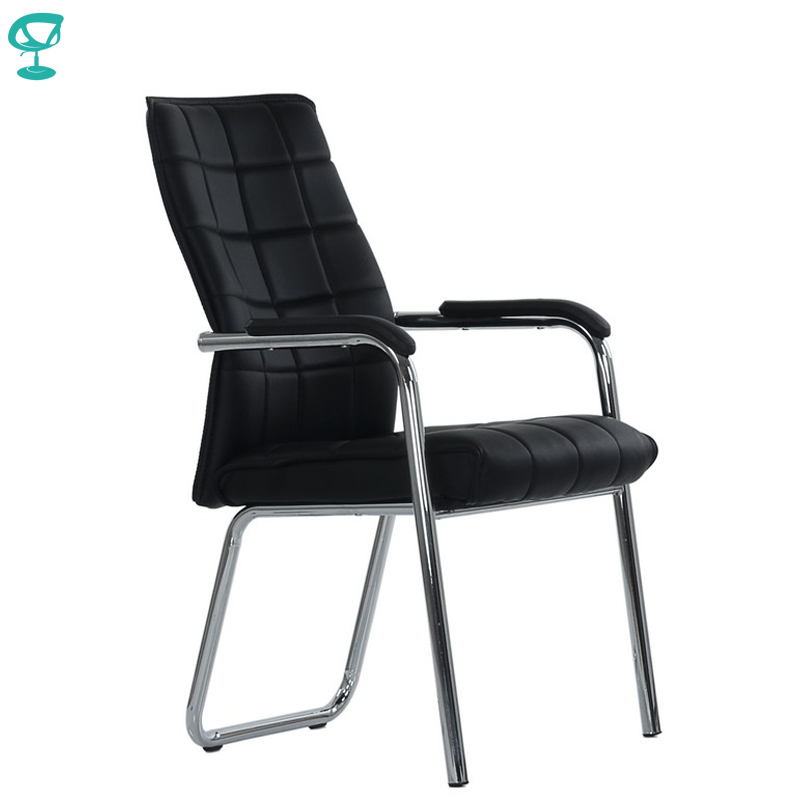 95456 Barneo K-14 Office Chair For Visitor Barneo Black Eco-leather Chrome Legs Chair Popular Model Free Shipping In Russia