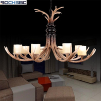 BOCHSBC 8 Heads Resin Antler Chandeliers Metal Chain Hanging Lamp With Glass Lampshade E14 Bulbs for Chrismas Parlor Living Room