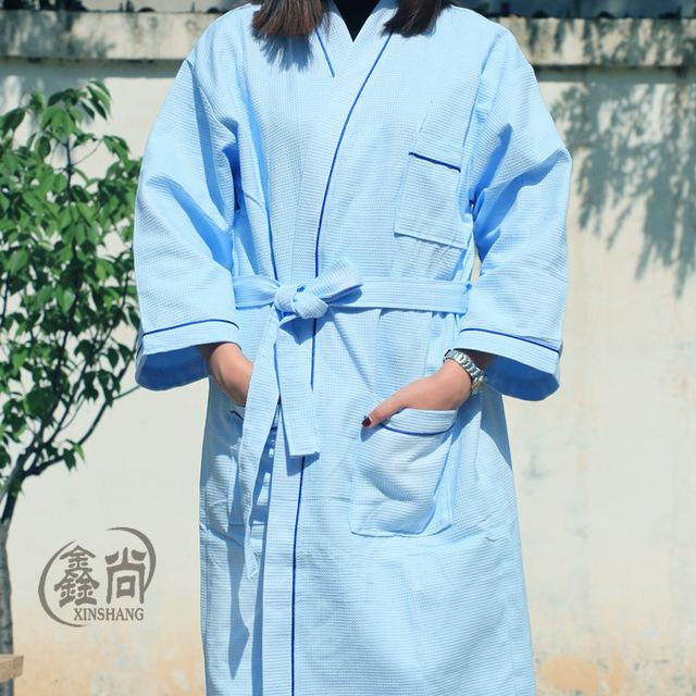 2016 Moda Nuevo Algodón Albornoz Kimono Robe Peignoir Pijama Hombre Homme En La Primavera Y el Otoño Aumento de Succión Suave Para Adultos