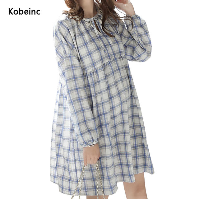 Special Drawstring O-Neck Maternity Dress Plaid Long-Sleeved Pregnancy Vestidos 2017 Spring M-2XL Mori Girl Hamile Giyim