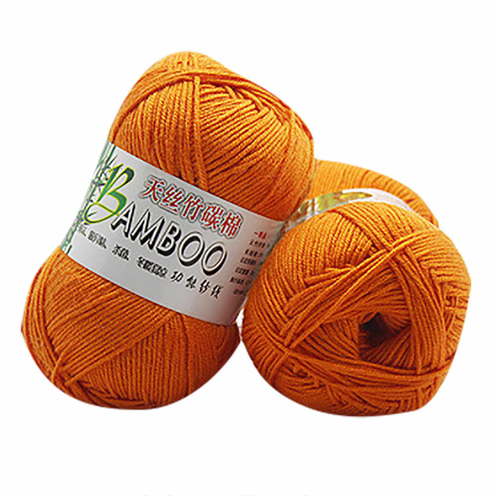 새로운 100% 대나무 면화 따뜻한 부드러운 자연 뜨개질 크로 셰 뜨개질 니트 양모 원사 50g