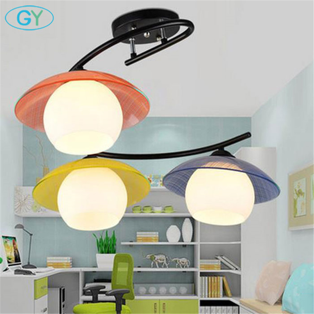 Modern children bedroom LED ceiling chandeliers Glass art decor LED study room ceiling lamps kid child room lustre light creative cartoon baby cute led act the role ofing boy room bedroom chandeliers children room roof plane light absorption