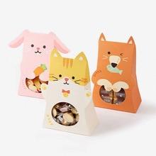 Милые животные конфетная коробка розовый кот», «кролик» пакеты для печенья поздравительные открытки подарки Сумки для Baby Shower или для вечеринки по случаю День рождения украшения