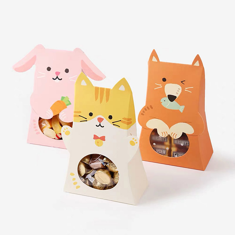Cute Animal Candy Box Pink Cat Rabbit Cookie Bags Kids Greeting Gifts Bags For Baby Shower Birthday Party Decoration