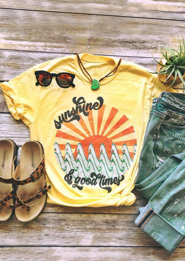Women Summer Graphic Short Sleeve T-shirt Femme Plus Size Sunshine Good Times Yellow tee Girl 90s Harajuku Tops Korean Clothes