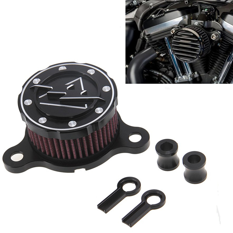 ФОТО CNC Aluminum Air Cleaner+Intake Filter System For Harley sportsters XL883/1200 2004-2014 air filter For Rough Crafts Air Cleaner