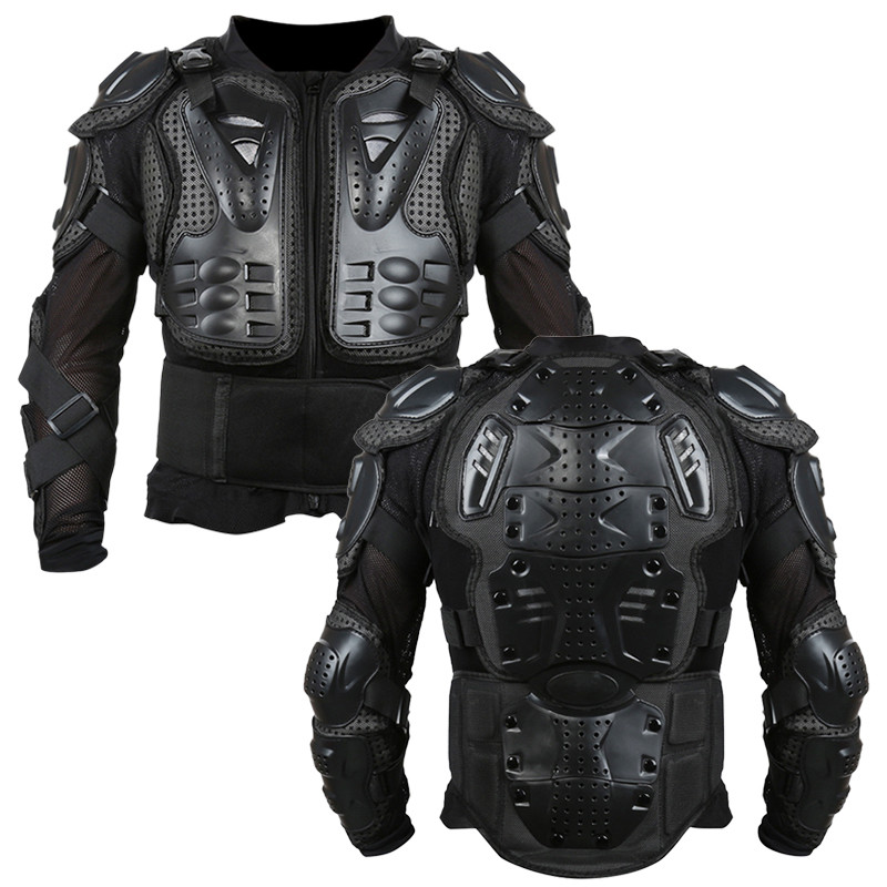 Motorcycle Armor Jacket Full Motorcycle Body Armor Shirt Jacket Motocross Back Shoulder Protector Gear S-XXXL Black