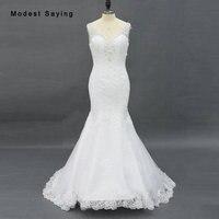 Sparkling Spitze Hochzeitskleid mit V Halsausschnitt und Tiefe Öffnen zurück in Fit und Streulicht Form Formal Ivory Meerjungfrau Brautkleid 2017