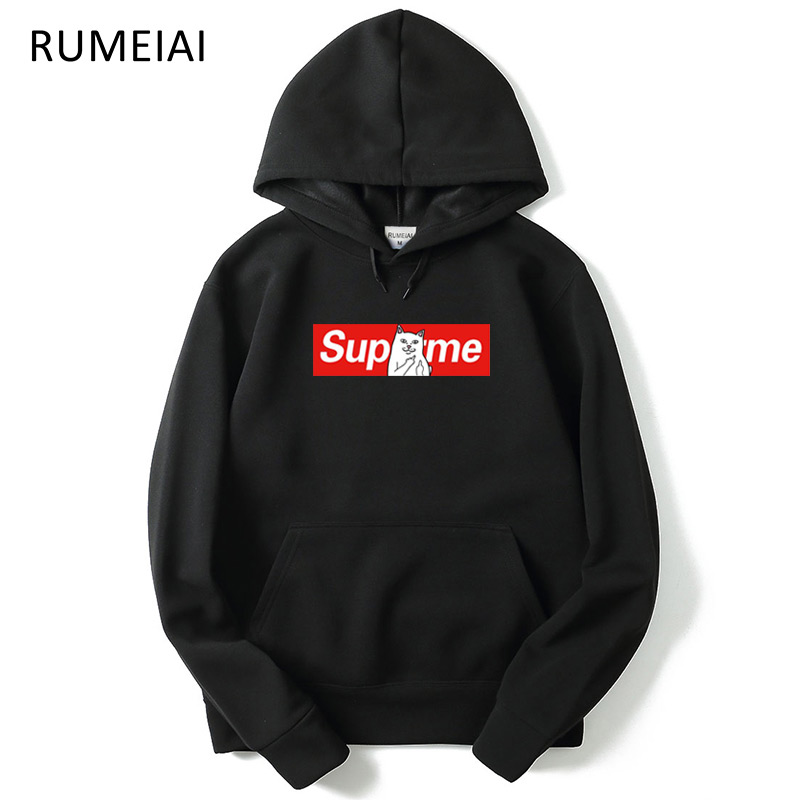 2018 Winter Autumn Hip Hop Hoodies and Sweatshirts Suprem Letter Printed Hoodies Men Pullover Outerwear Brand Clothing Hooded