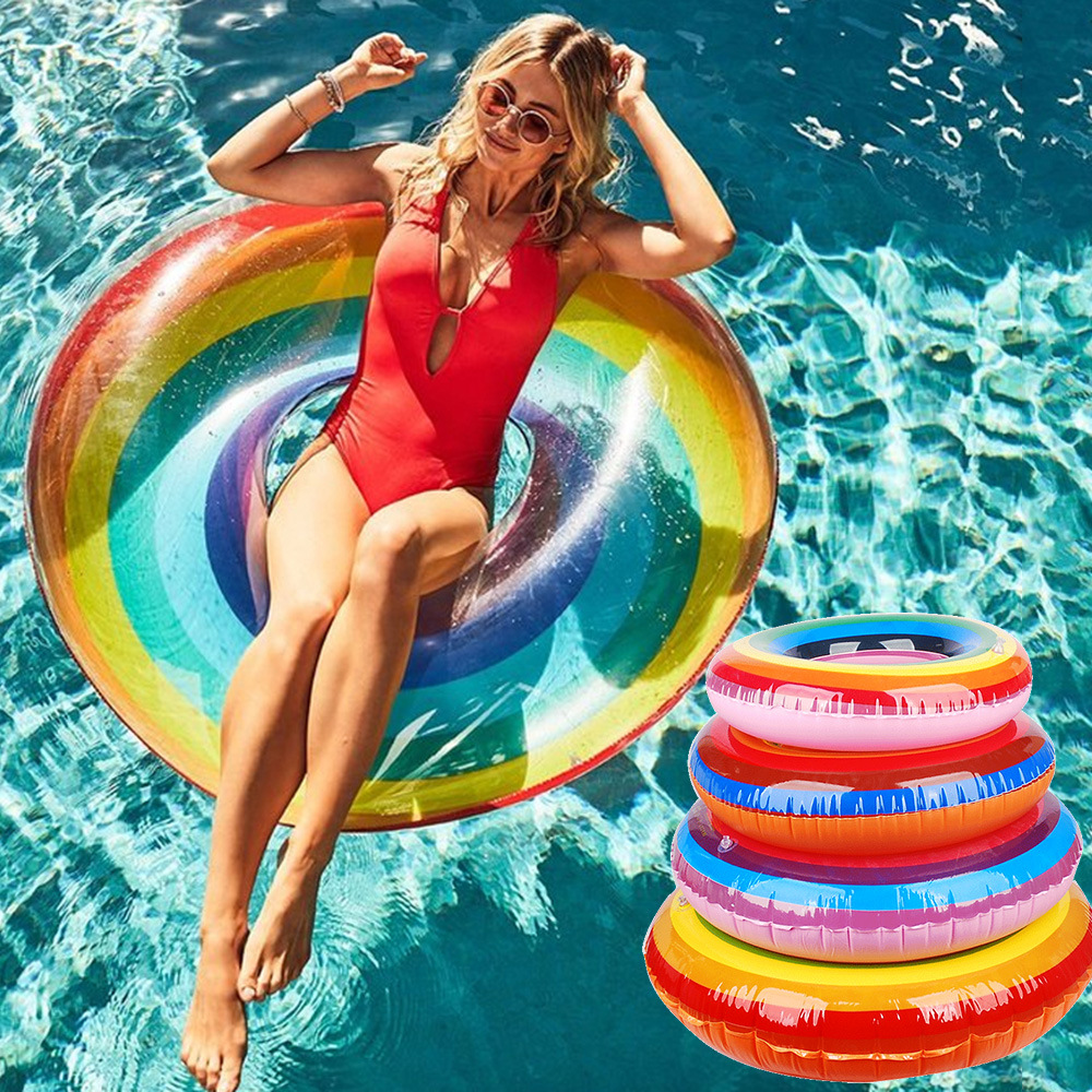 Inflatable Swimming Circle Air Mattress Rainbow Float Seat