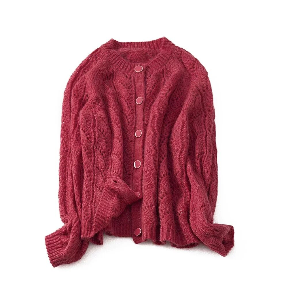 2019 french chic spring Women Mohair Soft Cardigan Wool Sweater red green Sweater with buttons