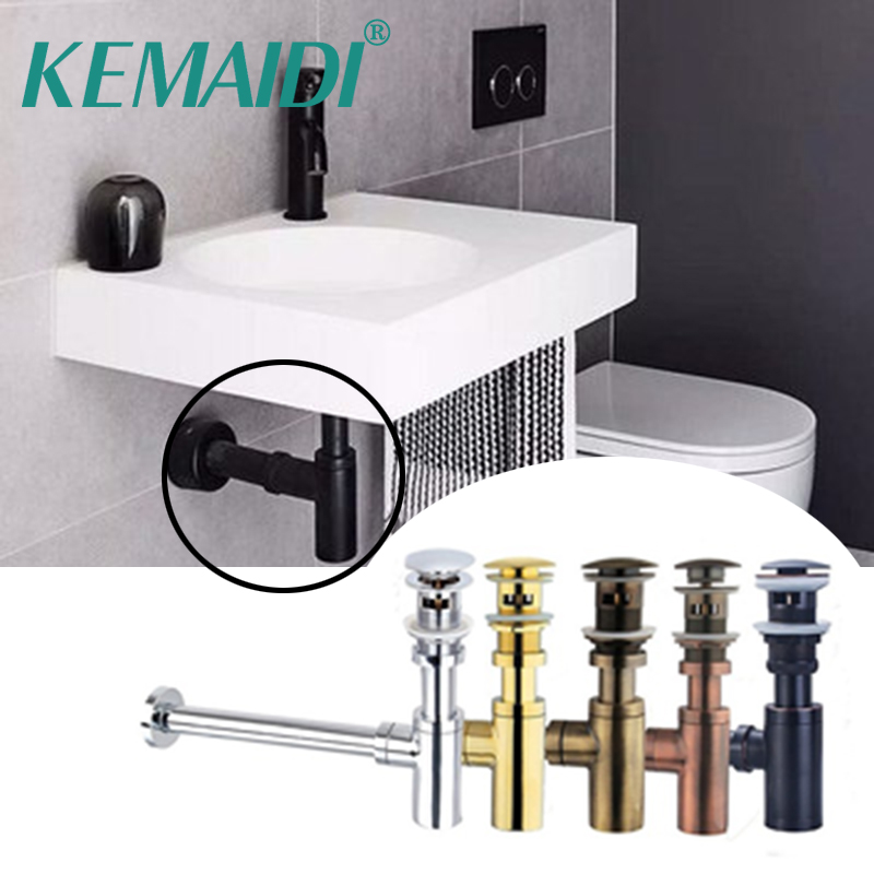 KEMAIDI Nice Bottle Traps Pop up Basin Waste Drain Basin Faucet P-Traps Waste Pipe Into The Wall Drainage Plumbing Tube new luxury classical antique bronze push down pop up drainer waste without overflow
