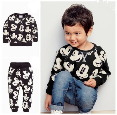 100% Cotton Baby's Sets Cotton Girls Boys Clothes Set Cartoon mickey Long Sleeve T-shirt+pants Newborn Baby Boy Clothing Set 2pcs set baby clothes set boy