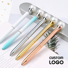 1pc New Kawaii Pearl Gem Ballpoint Pen Fashion Girls Metal Pens Creative Multicolor Gift Lettering Office School Stationery