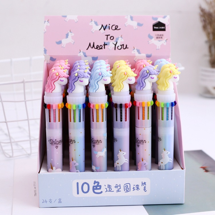 18 Pcs/lot Unicorn Rainbow Nice Meet 10 Colors Chunky Ballpoint Pen School Office Supply Gift Stationery Papelaria Escolar