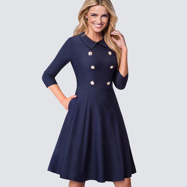 ce0436906976 Women Vintage Work Office Business Pocket Swing A-line Dress Casual Double- Breasted Buttons Sheath Bodycon Lady Dress HA070