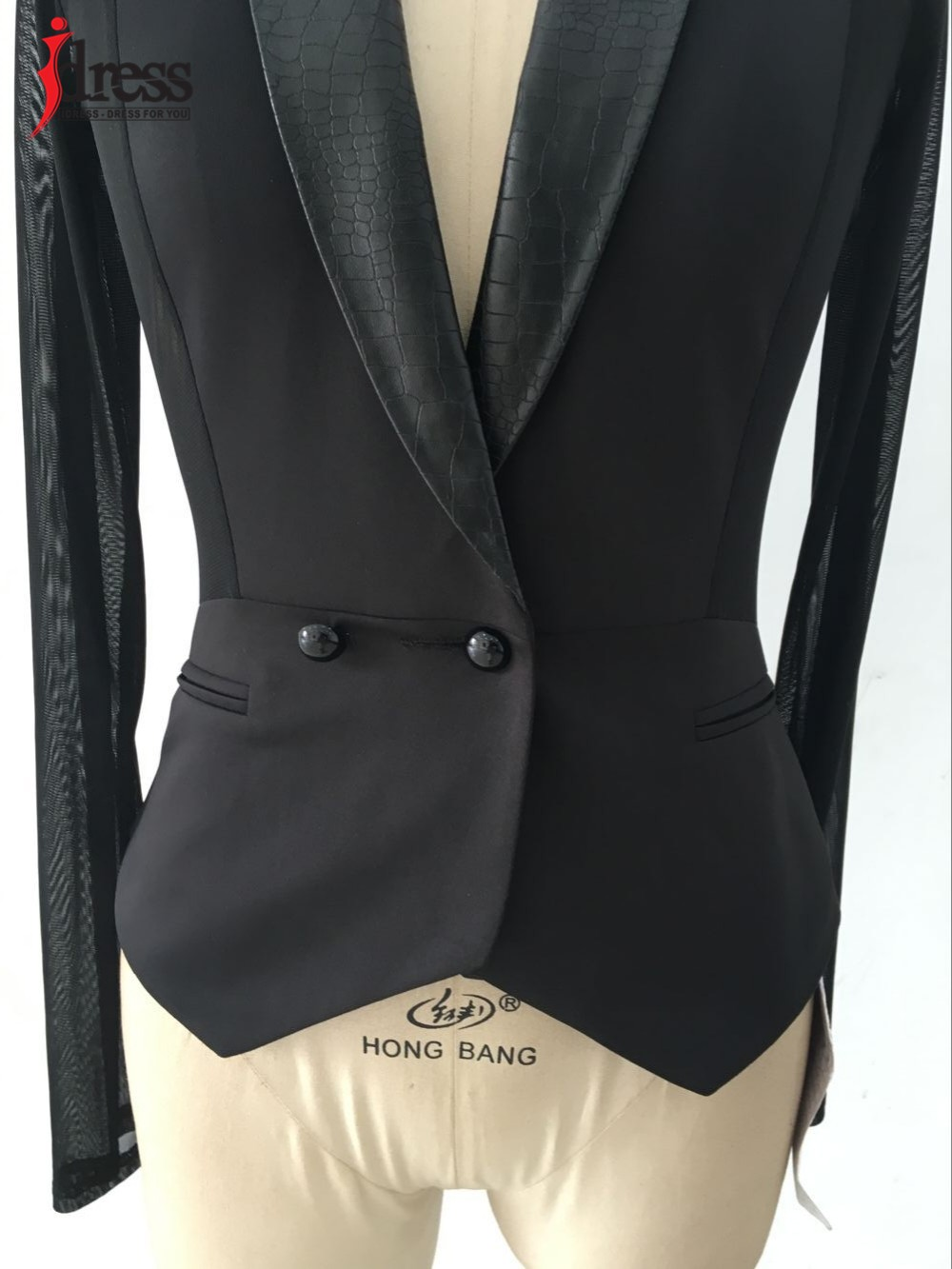 IDress Women Blazer Jackets 2016 Fashion Mulher Sexy Blazer Women Button Veste Femme Blazer Mesh Leather Partchwork Long-Sleeve Slim Blazer Women Blazers (5)