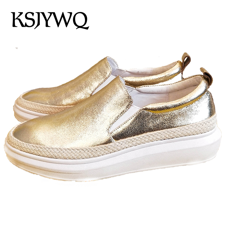 KSJYWQ Genuine Leather Women's Flat Platform Shoes 3 CM Thick Soles Slip-on Loafers Silver Gold Woman Flats Box Packing  C06 lanshulan bling glitters slippers 2017 summer flip flops platform shoes woman creepers slip on flats casual wedges gold