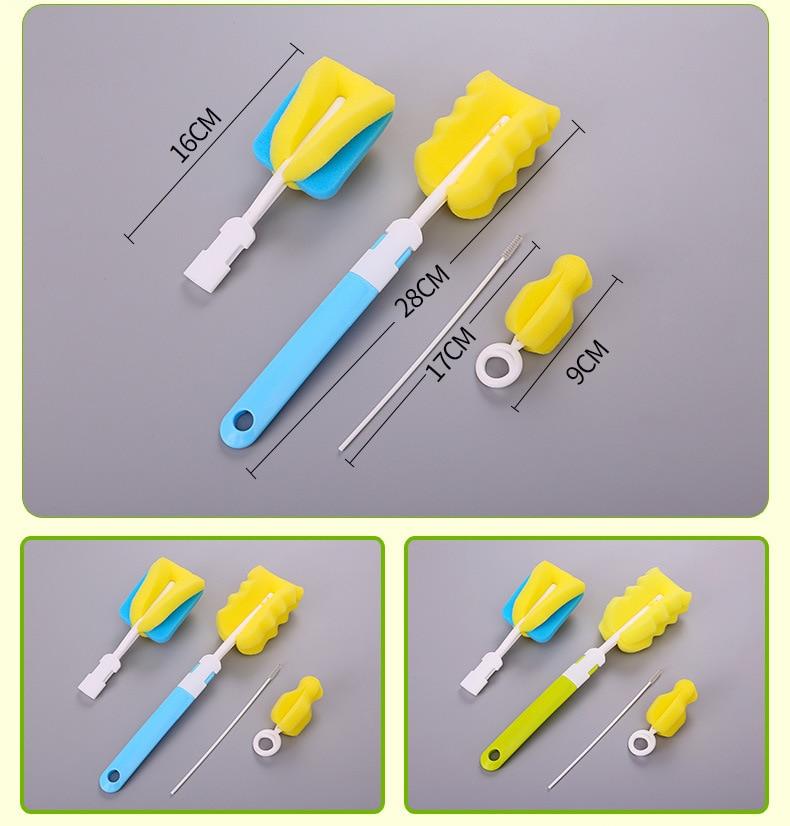 2pcs Baby Bottle Nipple Feeder Glass Teat Plastic Brush Cleaning Cleaner Set