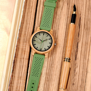 Image 4 - BOBO BIRD Causal Bamboo Watches for Men and Women Bright Silicon Band montre femme plastique