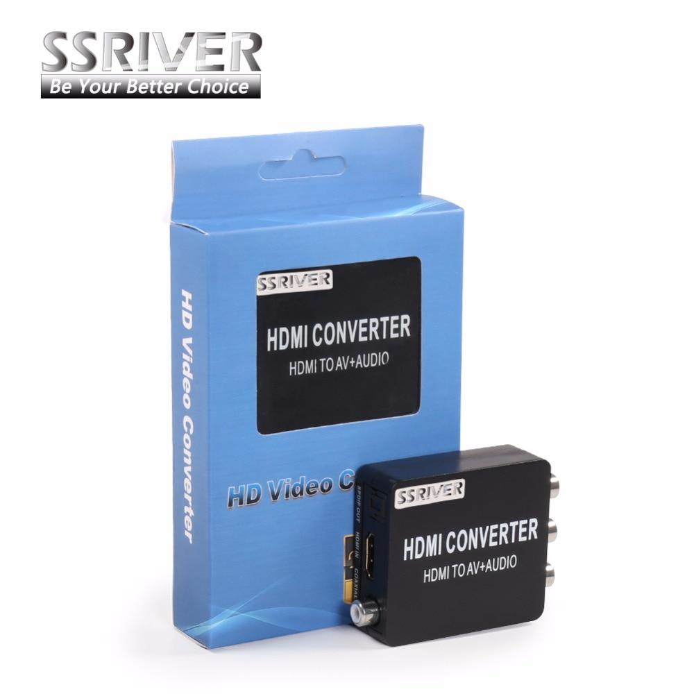 SSRIVER HDMI2AV Converter HDMI to AV + Audio Converter Support SPDIF Coaxial Audio NTSC PAL Composite Video HDMI TO 3RCA Adapter