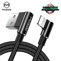 Mcdodo 90 Degree Lightning to USB Cable 2.4A Fast Charging Cord for iPhone X 8 7 6 Plus 5s SE iPad Sync Data USB Charger Cable
