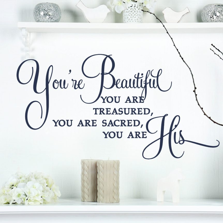 You Are Beautiful Vinyl Wall Decals Living Room Home Decor Wall Sticker Quotes Inspire Christian song Removable Art Decor ZA030 image