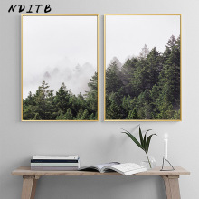 NDITB Scandinavia Fog Forest Canvas Painting Landscape Nordic Posters and Prints Decorative Pictures Modern Home Decoration