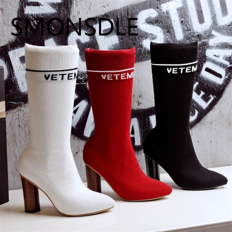 2018 New Fashion Women Boots Knitting Mid Calf Round High Heels Boots Women Round Toe Solid Slip On Spring Shoes Woman