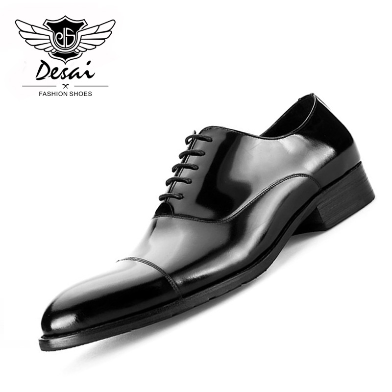 British Style Mens Shoes Round Toe Black Leather Business Formal Dress Genuine Men Bright Shoe
